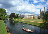 Punting on the river Cam, with King's College in the background.   The view of the colleges from the river is referred to as ''the backs''