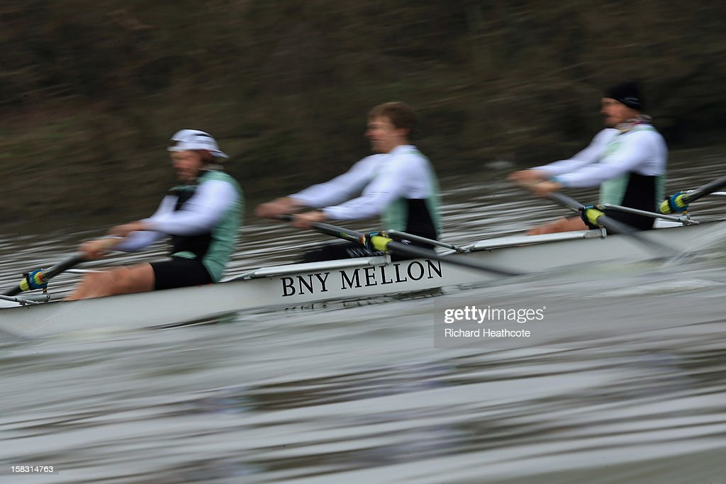 Cambridge's 'Bangers' crew in action during the trial 8's for The BNY Melon University Boat Race on The River Thames on December 13, 2012 in London, England.