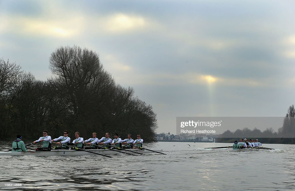 Cambridge's 'Bangers' crew (R) pull away to victory over the 'Mash' crew during the trial 8's for The BNY Melon University Boat Race on The River Thames on December 13, 2012 in London, England.
