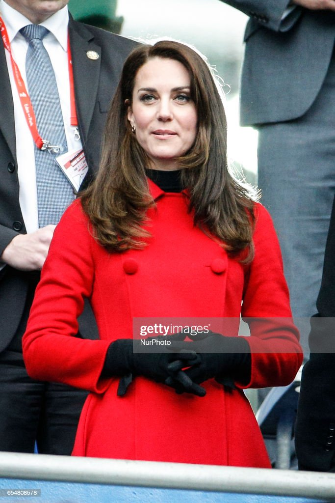 Cambridge's duchess Kate Middleton is seen ahead of the Six Nations tournament Rugby Union match between France and Wales at the Stade de France in Saint-Denis, outside Paris, on March 18, 2017.