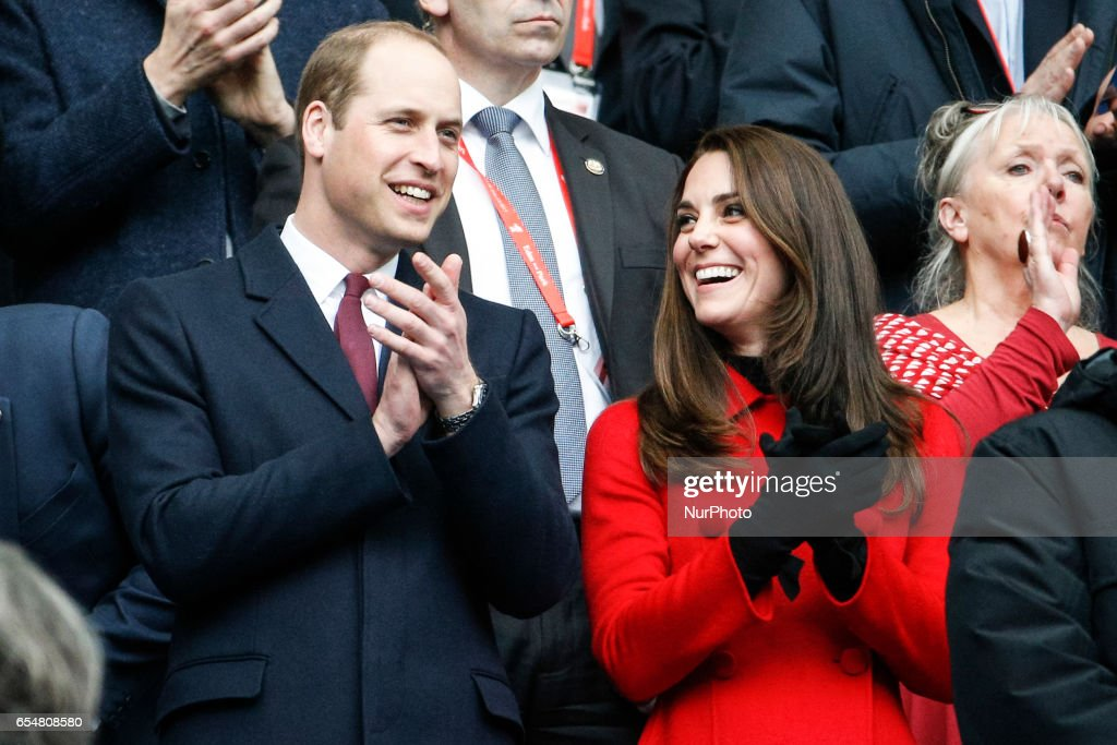 Cambridge's Duke and duchess Prince William and Kate Middleton are seen ahead of the Six Nations tournament Rugby Union match between France and Wales at the Stade de France in Saint-Denis, outside Paris, on March 18, 2017.