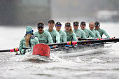 Cambridge's 'Tideway' crew collide with a buoy during the Newton Women's University Boat Race Trial 8's on The River Thames on December 10 2015 in...