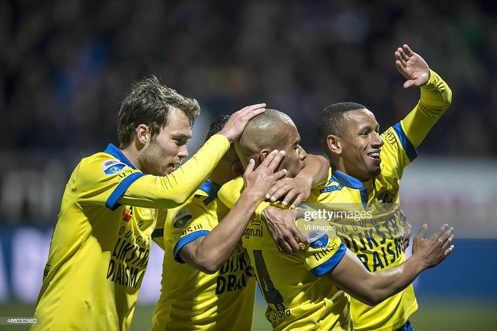 Cambuur celebrates the goal of Mikhail Rosheuvel of SC Cambuur Leeuwarden during the Dutch Eredivisie match between SC Cambuur and FC Utrecht at the...
