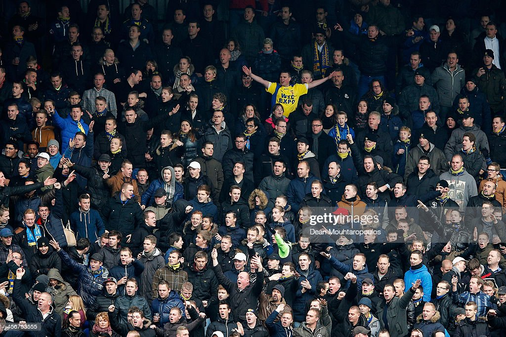 Cambuur fans cheer for their team during the Eredivisie match between SC Cambuur and Ajax Amsterdam held at Cambuur Stadion on December 15 2013 in...