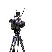 Camcorder for use in studio or outdoor isolated on white background with clipping path.
