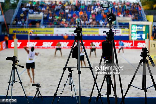 Camcorders are ready to record a match in the central court at Pajucara beach during day four of the FIVB Beach Volleyball World Tour Maceio Open on...