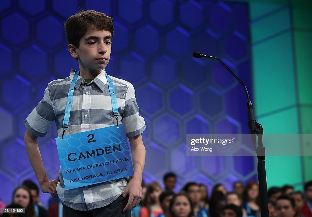 Camden Armstrong of Anchorage, Alaska, participates in round two of the 2016 Scripps National Spelling Bee May 25, 2016 in National Harbor, Maryland. Students from across the country gathered to compete for top honor of the annual spelling championship.