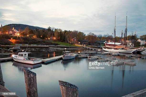 Camden Harbor, Maine at twighlight.