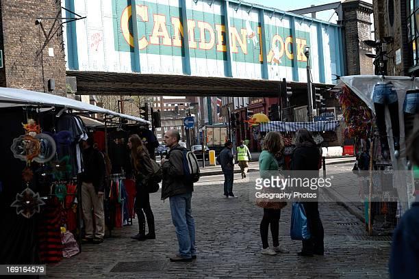 Camden Lock painted railway bridge London