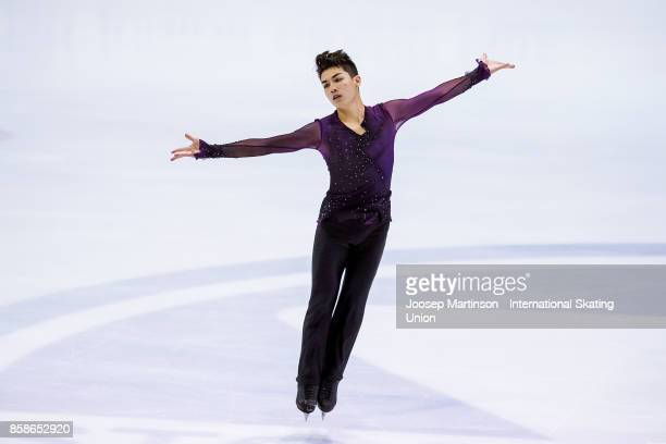 Camden Pulkinen of the United States competes in the Men's Free Skating during day three of the ISU Junior Grand Prix of Figure Skating at Olivia Ice...