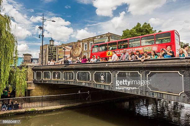 Camden Town, bus on the bridge on Regent's canal