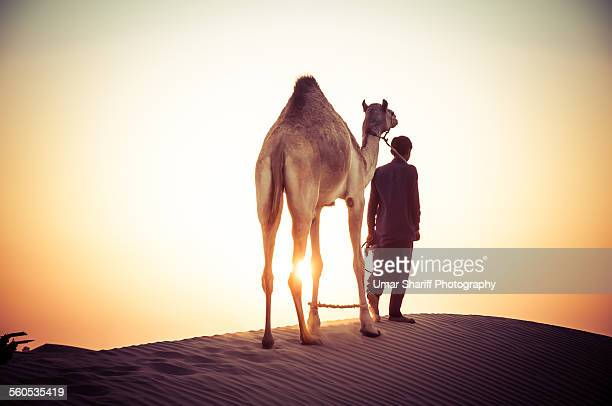 Camel and Herder going on a journey at Desert