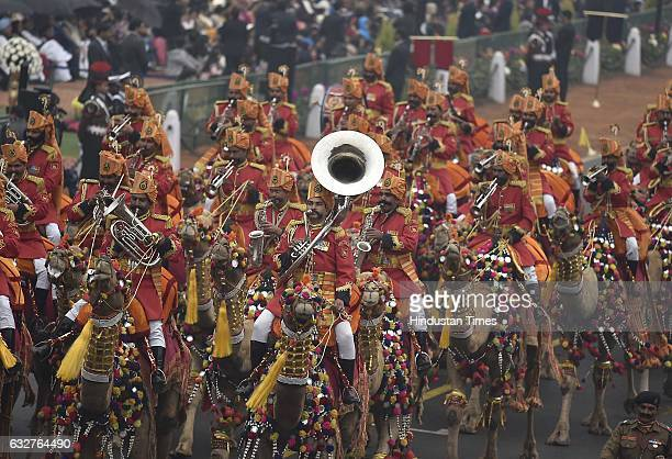 Camel Band Contingents march during the celebration of the 68th Republic Day at Rajpath on January 26 2017 in New Delhi India India celebrates its...