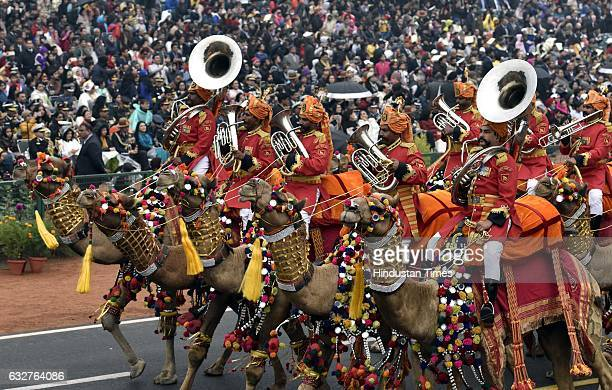 Camel Band march during the celebration of the 68th Republic Day at Rajpath on January 26 2017 in New Delhi India India celebrates its 68th Republic...
