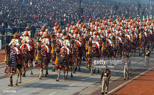 Camel band ride through the saluting base on Rajpath during the full dress rehearsal of Republic Day on January 23 2012 in New Delhi India The Border...