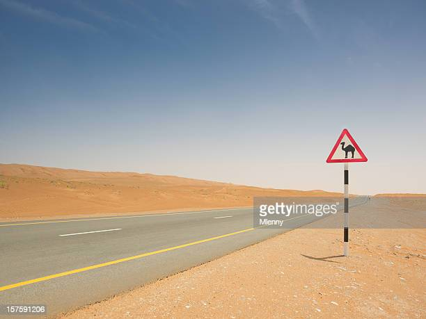 Camel Crossing Sign Empty Desert Highway
