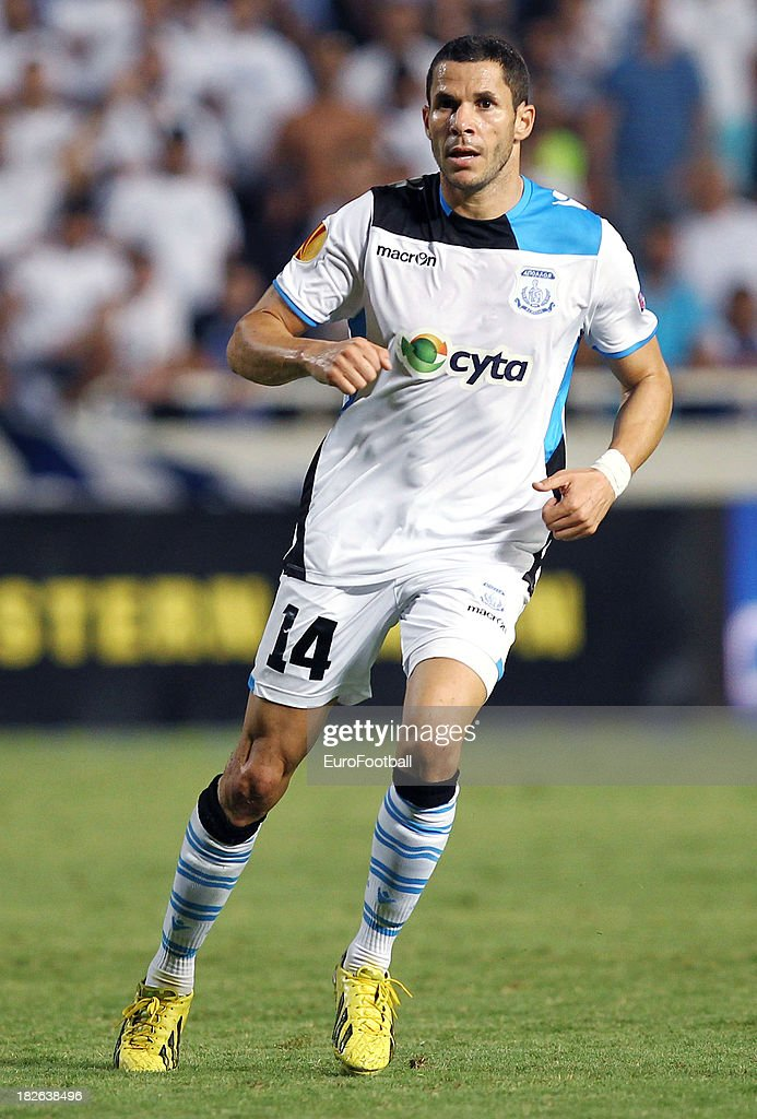 <a gi-track='captionPersonalityLinkClicked' href=/galleries/search?phrase=Camel+Meriem&family=editorial&specificpeople=697194 ng-click='$event.stopPropagation()'>Camel Meriem</a> of Apollon Limassol FC in action during the UEFA Europa Leaque group stage match between Apollon Limassol FC and Trabzonspor AS held on September 19, 2013 at the GSP Stadium in Nicosia, Cyprus.