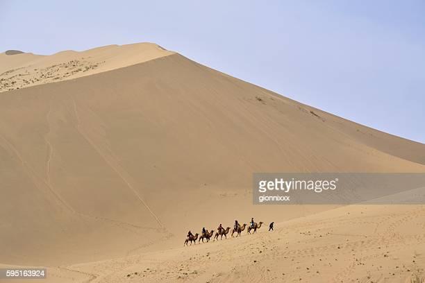 Camel riding in Badain Jaran desert, Inner Mongolia