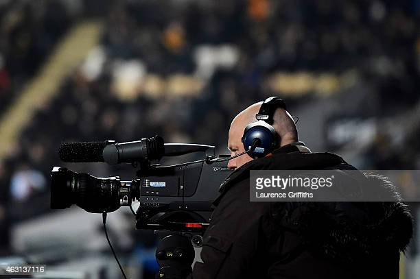 TV camera covers the Barclays Premier League match between Hull City and Aston Villa at the KC Stadium on February 10 2015 in Hull England