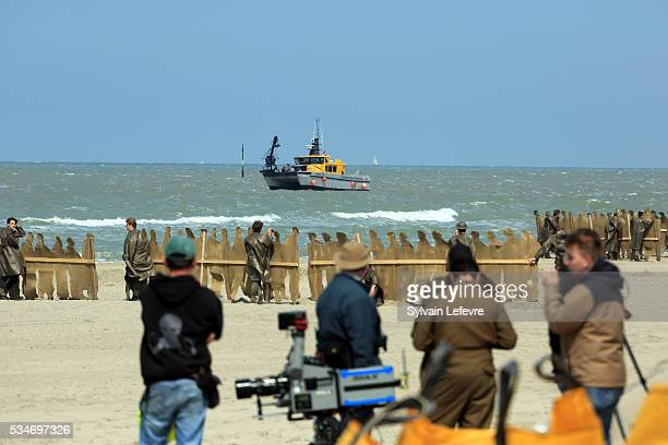 A camera crane attached to a boat filming on Christopher Nolan's 'Dunkirk' set on May 26 2016 in Dunkerque France