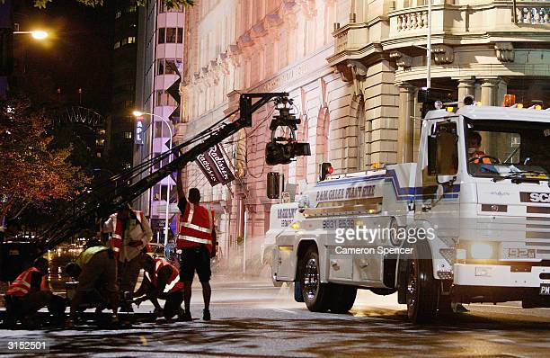 A camera crew prepare to film a scene on the streets of Sydney during production of the film sequel Mask II March 29 2004 in Sydney Australia Major...