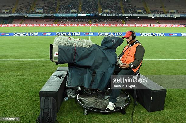 TV camera films during the Serie A match between SSC Napoli and US Citta di Palermo at Stadio San Paolo on September 24 2014 in Naples Italy