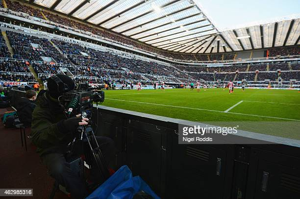 TV camera films the action during the Barclays Premier League match between Newcastle United and Stoke City at St James' Park on February 8 2015 in...