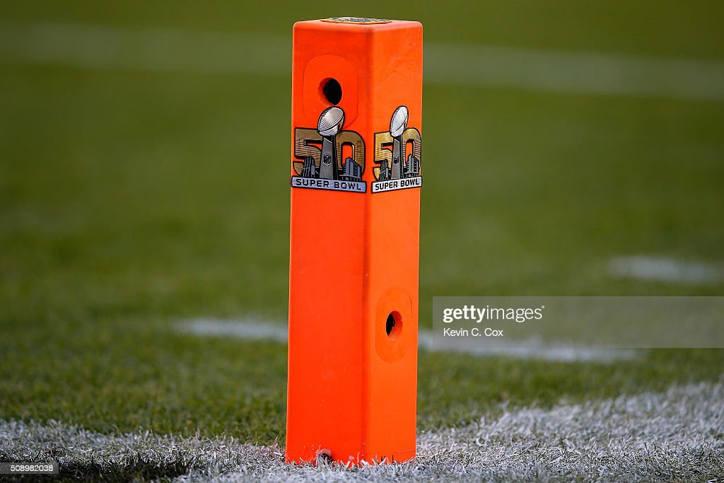 A camera in seen inside one of the end zone pylons during Super Bowl 50 at Levi's Stadium on February 7, 2016 in Santa Clara, California.