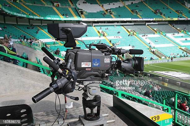 TV camera inside Parkhead Stadium prior to the Clydesdale Bank Scottish Premier League match between Celtic and Dundee on September 22 2012 in...