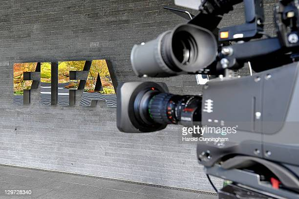 A camera is seen by the FIFA logo outside the FIFA headquarters prior to the FIFA Executive Committee Meeting on October 20 2011 in Zurich...