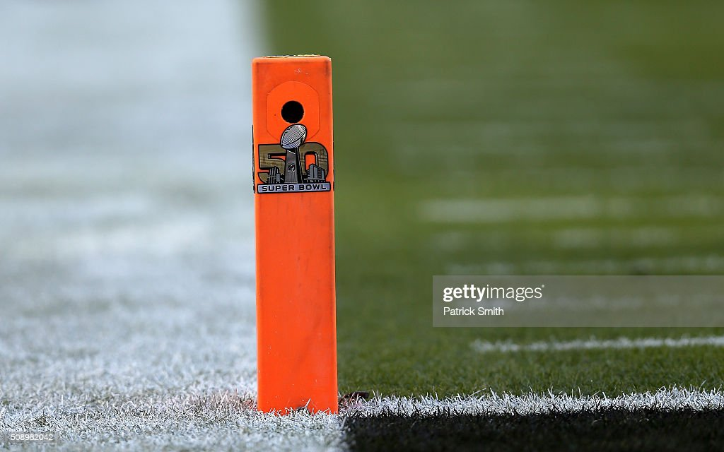A camera is seen inside an end zone pylon during Super Bowl 50 at Levi's Stadium on February 7, 2016 in Santa Clara, California.