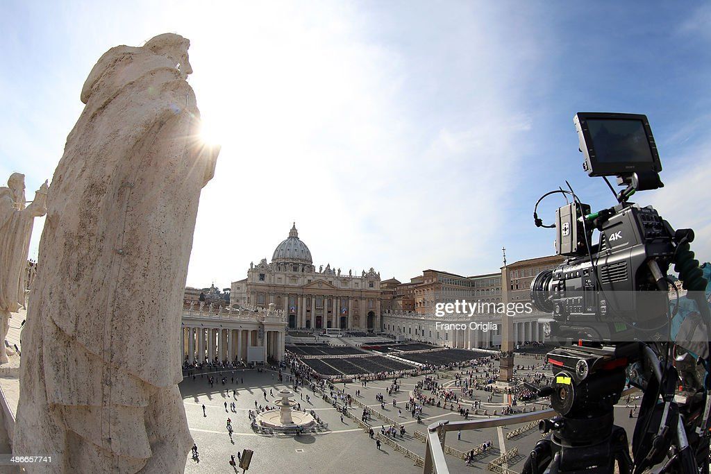 A 4K camera is set on St. Peter's colonnade as the CTV (Vatican Television) is preparing for a 4K and 3D coverage of the Canonisation of Pope John Paul II and Pope John XXIII on April 25, 2014 in Vatican City, Vatican. The late Pope John Paul II and Pope John XXIII will be canonised on April 27th inside the Vatican along 800,000 pilgrims from around the world that are expected to attend.