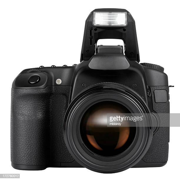 DSLR camera (clipping path), isolated on white background