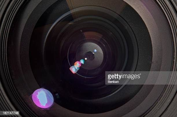 Camera lens aperture with refracted light