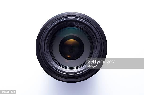 Camera Lens over White Background