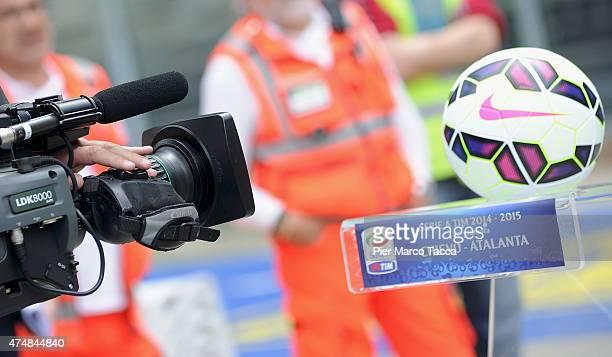 A camera near the ball of the Serie A before the Serie A match between AC Chievo Verona and Atalanta BC at Stadio Marc'Antonio Bentegodi on May 24...