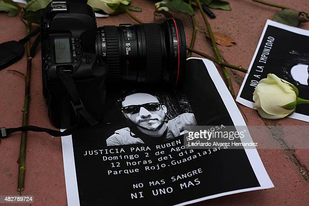 A camera next to a banner are seen during a protest against the murder of the journalist Ruben Espinosa in Veracruz Mexico on August 02 2015 in...