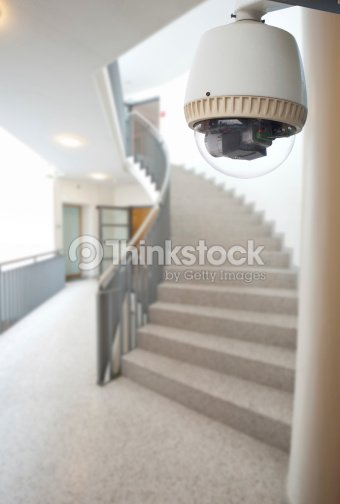 Cctv Camera Operating Inside Dormitory Or Apartment At Stairway Stock Photo