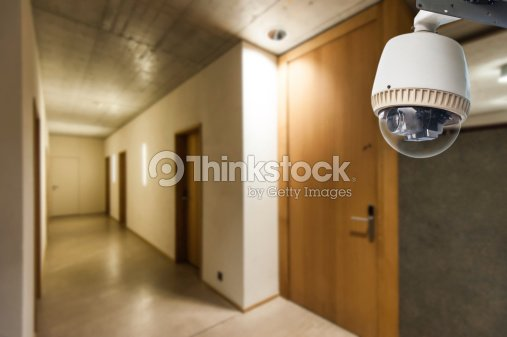 Cctv Camera Operating Inside Dormitory Or Apartment Stock Photo
