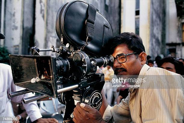 A camera operator on the set of a Bollywood film being shot at Film City January 1997 in Mumbai India