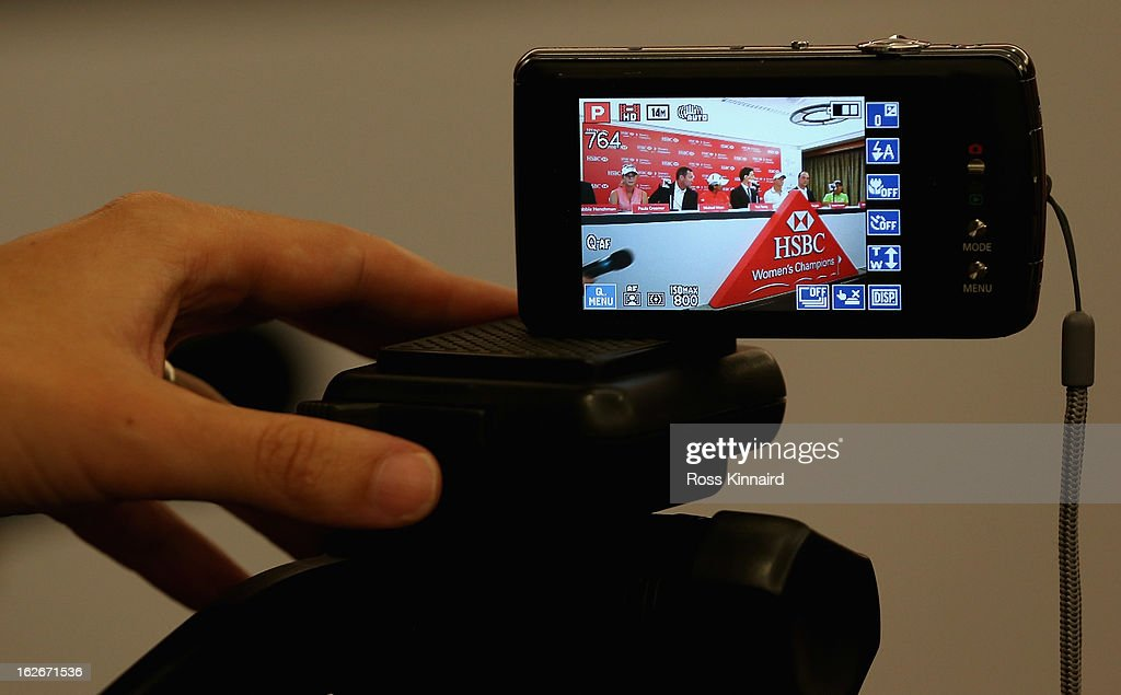 A camera records the events during a press conference at the Sentosa Golf Club prior to the start of the HSBC Women's Champions at the Sentosa Golf Club on February 26, 2013 in Singapore, Singapore.