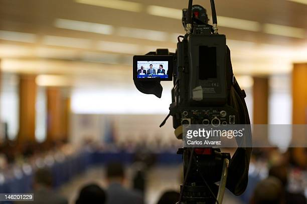 TV camera records the President of World Tourism Organisation Danson Mwazo Prince Felipe of Spain and Spain's Minister of Industry Energy and Tourism...