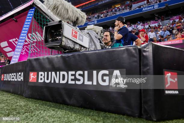 TV camera with the new Bundesliga logo is seen prior the Bundesliga match between FC Bayern Muenchen and Bayer 04 Leverkusen at Allianz Arena on...