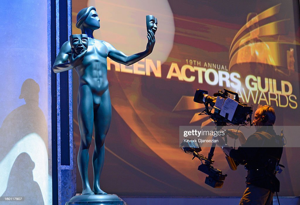 Cameraman David Eastwood points the camera to the Actor statuette during rehearsals at the 19th Annual Screen Actors Guild Awards red carpet roll out and presenter rehearsals at The Shrine Auditorium on January 26, 2013 in Los Angeles, California.
