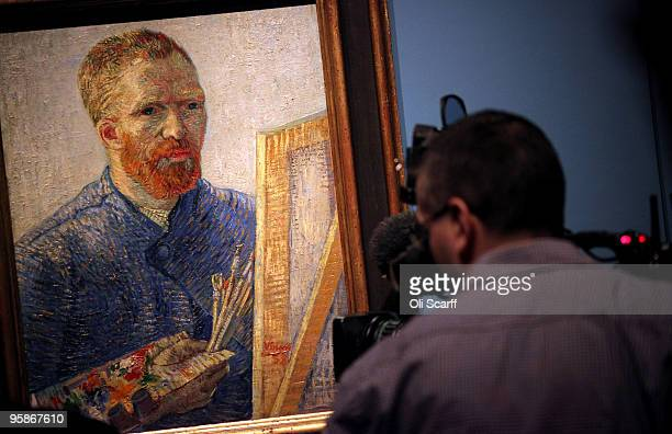 TV cameraman films a selfportrait painting by the acclaimed Dutch artist Vincent Van Gogh at the press viewing of an exhibition of his work held at...
