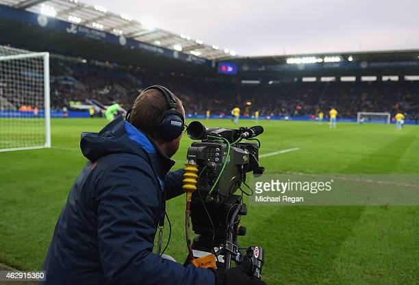 TV cameraman films the action during the Barclays Premier League match between Leicester City and Crystal Palace at the King Power Stadium on...