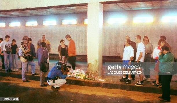 A cameraman films the point of the fatal car accident in Paris last night 30 August which killed Diana Princess of Wales and her Egyptian friend Dodi...