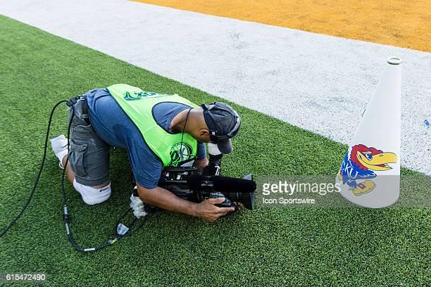 FOX cameraman gets a closeup of the Kansas Jayhawks megaphone during the game between the Baylor Bears and the Kansas Jayhawks at McLane Stadium in...