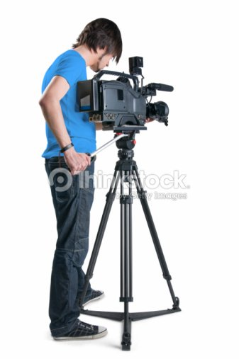Cameraman in blue shirt isolated on white background : Stock Photo