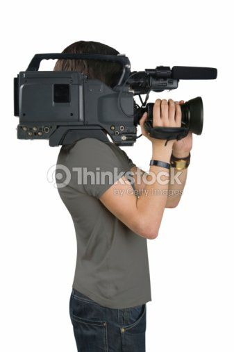 Cameraman, isolated on white background : Stock Photo